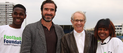 Eric Cantona and Ken Loach in East London with the Football Foundation