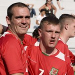 Welsh players celebrate a goal at the Homeless World Cup