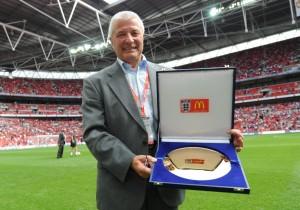 Bill Taylor with his award at Wembley